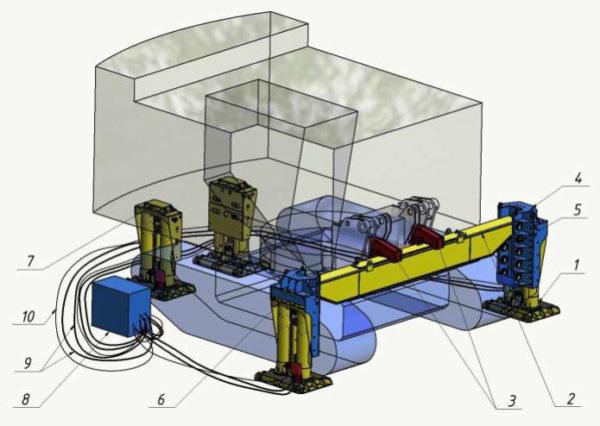 Система подъёма поворотной платформы экскаватора гидравлическая (СПЭГ1000-1,8)